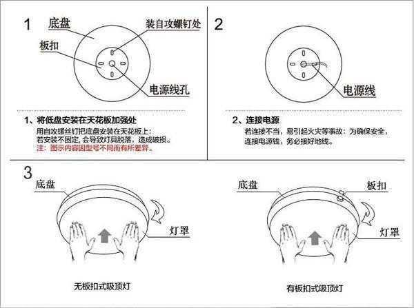 简易吸顶灯安装方法 打孔注意事项